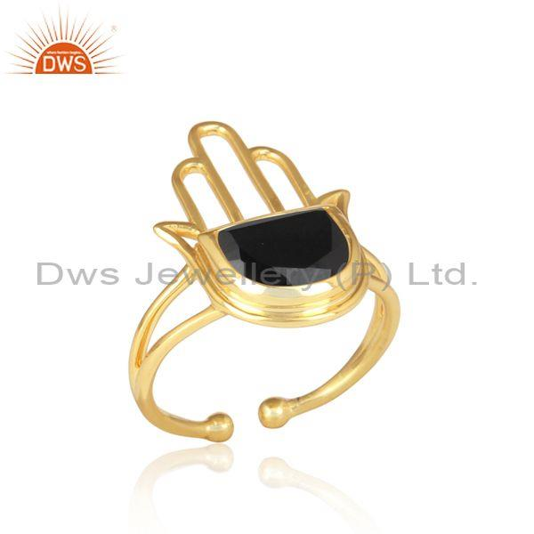 Black onyx coin set gold on 925 silver hamsa statement ring