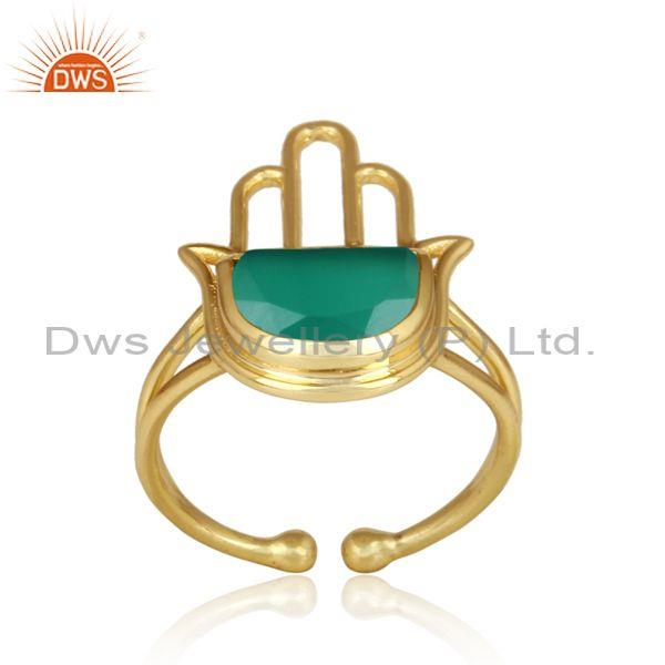 Green onyx coin set gold plated sterling silver hamsa ring