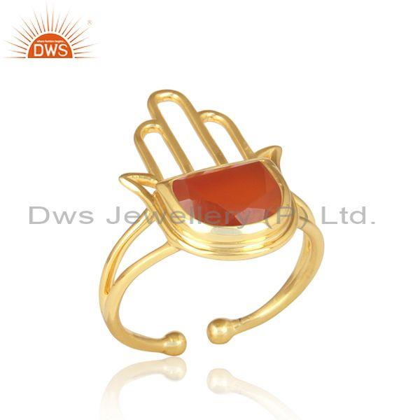Red Onyx Coin Set Gold On 925 Silver Hamsa Statement Ring