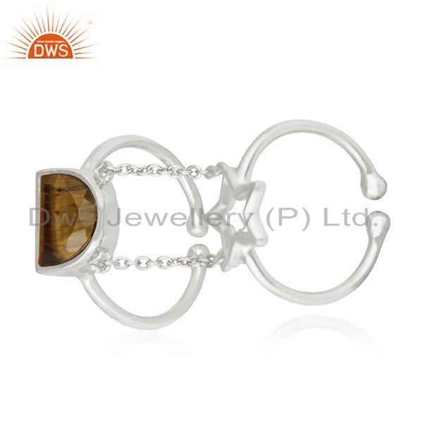 Tiger Eye Gemstone Star Charm 925 Silver Finger Ring Wholesale