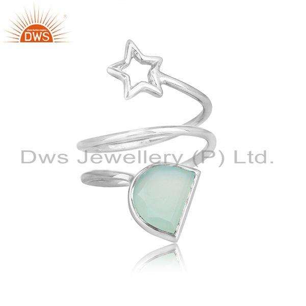 Sterling fine silver star design aqua chalcedony gemstone rings