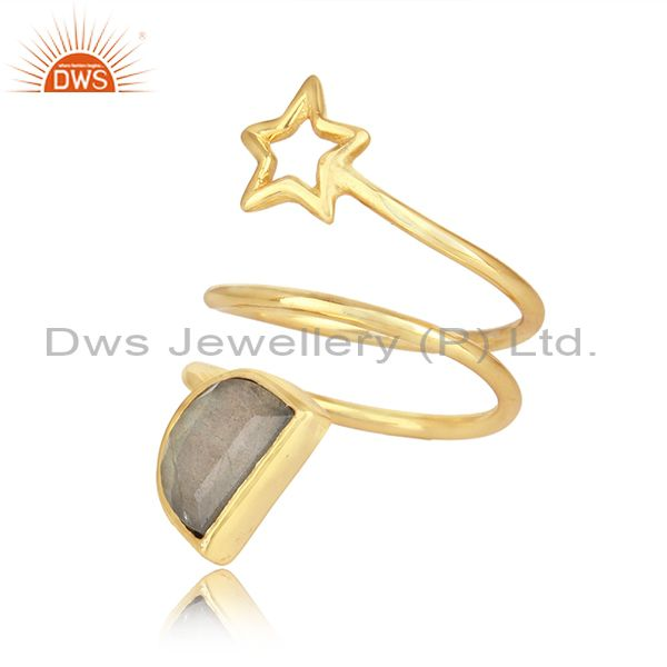 Star charm gold plated 925 silver labradorite gemstone rings