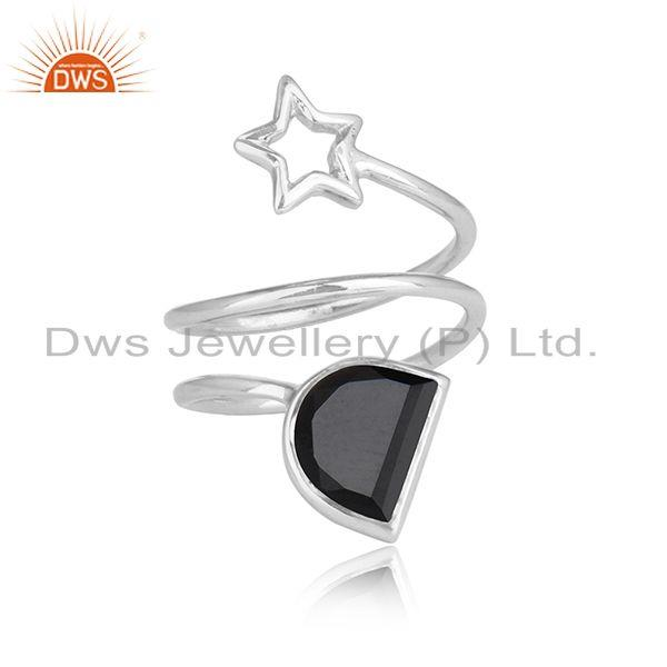 Black onyx gemstone star sterling fine silver designer rings