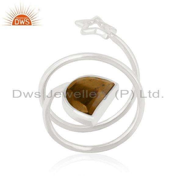 Tiger Eye Gemstone 925 Silver Star Charm Ring Manufacturers