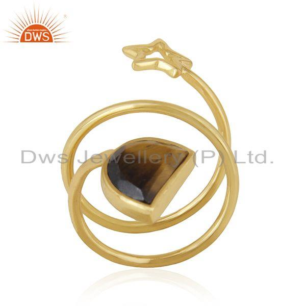 Star Charm Gold Plated 925 Silver Tiger Eye Gemstone Ring Wholesale