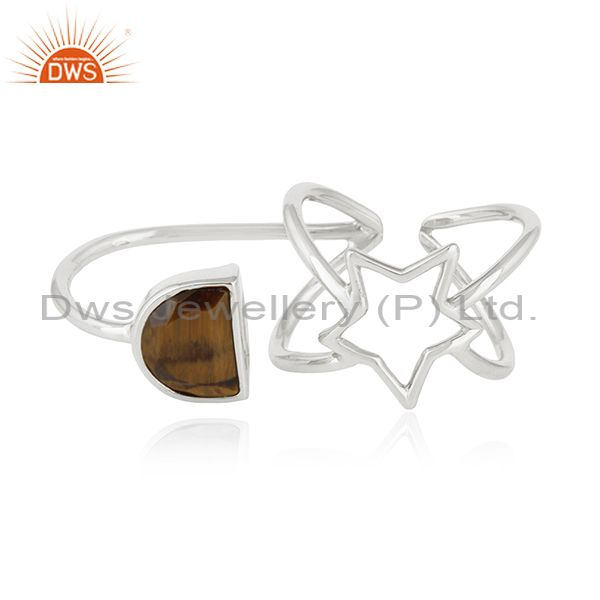Tiger Eye Gemstone Fine Sterling Silver Star Charm Double Finger Ring Wholesale