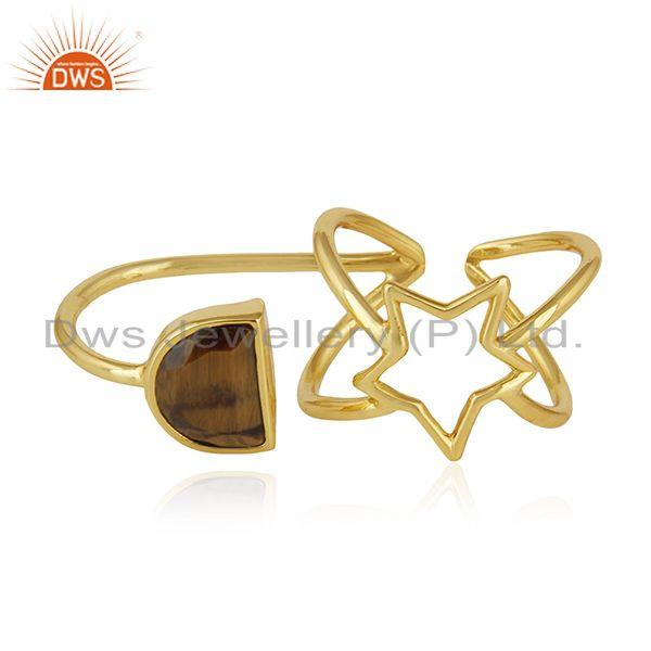 Gold Plated 925 Silver Tiger Eye Gemstone Star Charm Lucky Ring Wholesale