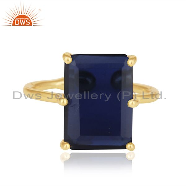Blue Corundum Gemstone 925 Silver Gold Plated Adjustable Ring Wholesale