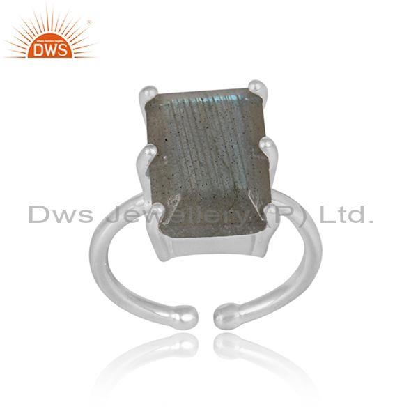 Rectangular cut labradorite set fine silver designer ring
