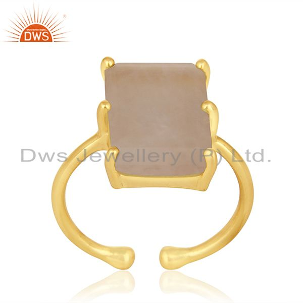 Prong Set Rose Quartz Gemstone Gold Plated 925 Silver Adjustable Ring Wholesale
