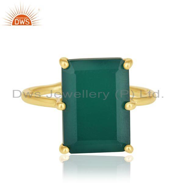 925 Silver Gold Plated Green Onyx Gemstone Adjustable Ring Suppliers