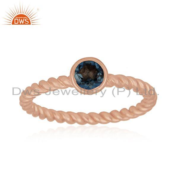 Rose Gold Plated Sterling Silver London Blue Topaz Gemstone Ring Manufacturer