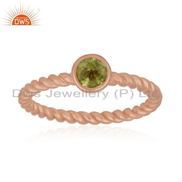 Handmade Rose Gold Plated 925 Silver Peridot Gemstone Designer Ring Manufacturer