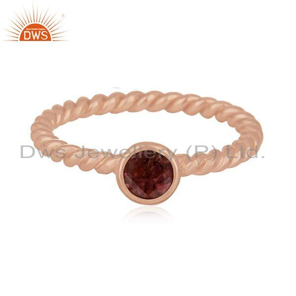 Pink Tourmaline Gemstone Rose Gold Plated Sterling Silver Midi Ring Manaufacture