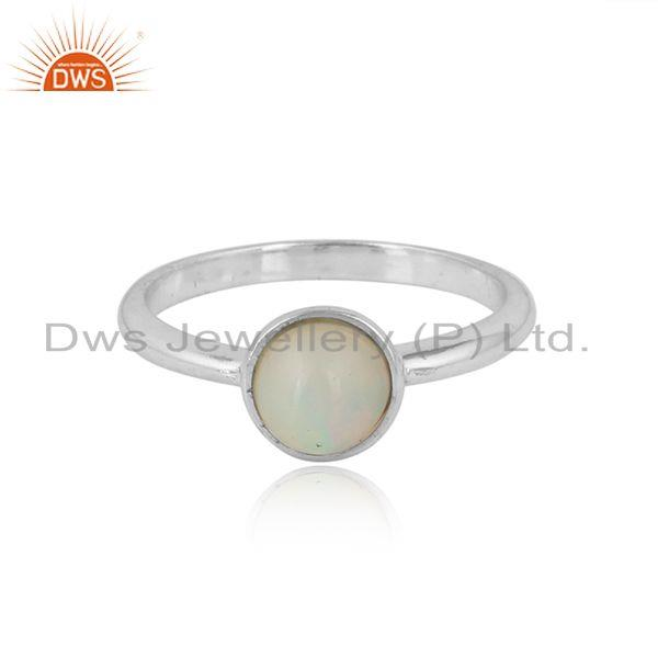 Ethiopian Opal Gemstone Womens Sterling Fine Silver Ring Jewelry