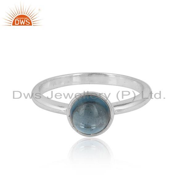 London Blue Topaz Gemstone Handmade Sterling Fine Silver Rings