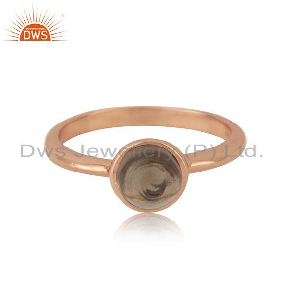 Rose Gold Plated 925 Silver Smoky Quartz Simple Ring Manufacturer Jaipur