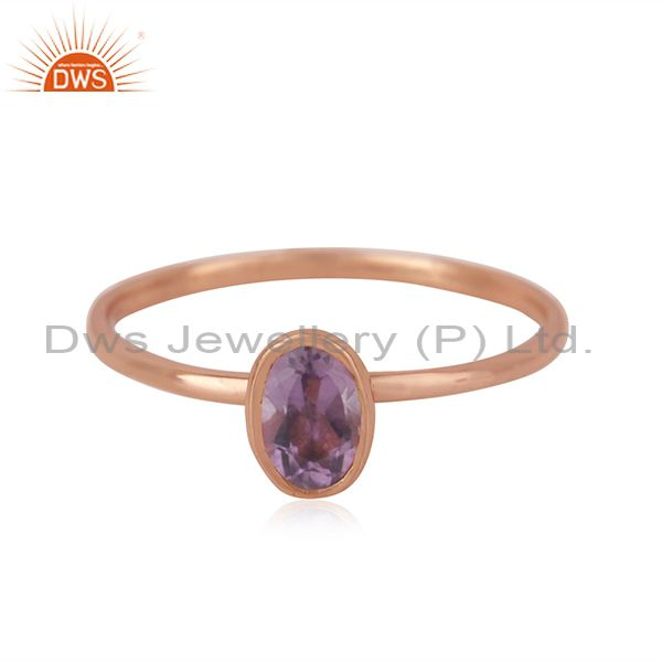Handmade 925 Silver Rose Gold Plated Amethyst Gemstone Simple Ring Wholesaler