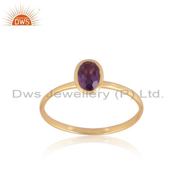 Amethyst set gold on 925 silver oval shaped statement ring