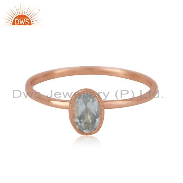 Blue Topaz Handmade Rose Gold Plated Sterling Silver Ring Jewelry Wholesale