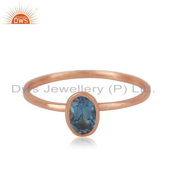 London Blue Topaz Roe Gold Plated 925 Silver Simple Ring Manufacturer India