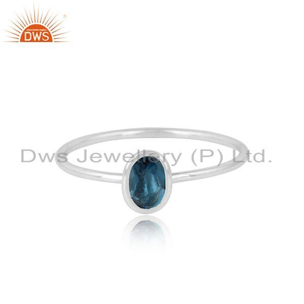 Natural London Blue Topaz Womens 925 Sterling Silver Ring Jewelry