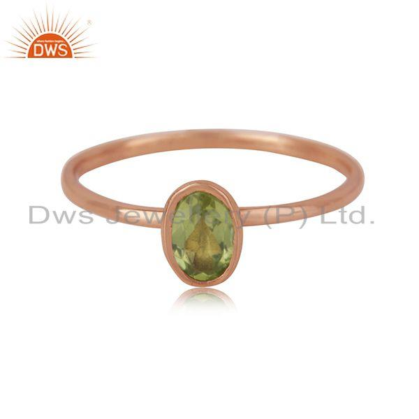 Oval Cut Peridot Gemstone Rose Gold Plated 925 Silver Ring Manufacturer Jaipur