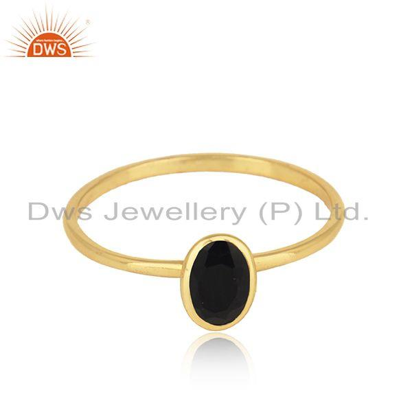Black Onyx Gemstone Designer Gold Plated Silver Womens Rings