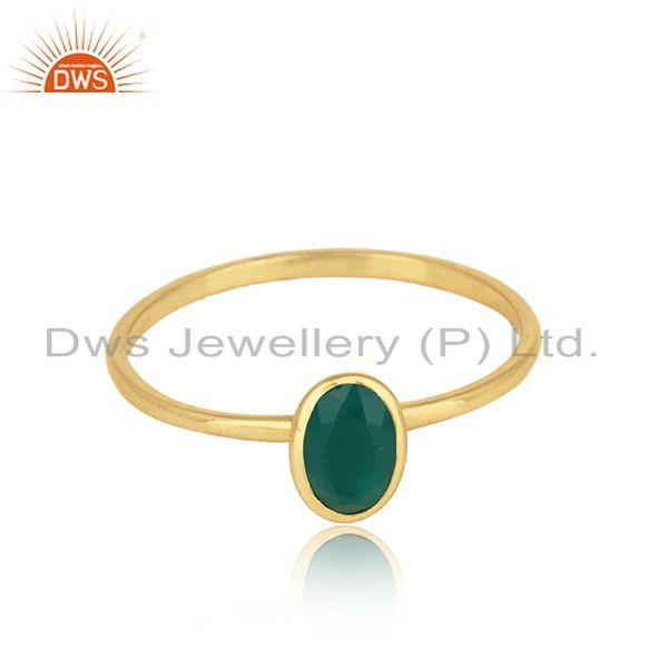 Green onyx gemstone handmade 18k gold plated silver rings jewelry