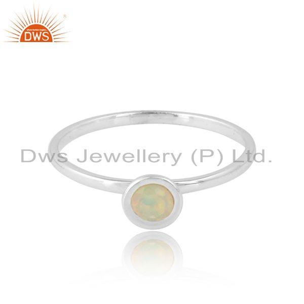 Round Ethiopian Opal Gemstone Womens 925 Fine Silver Ring Jewelry