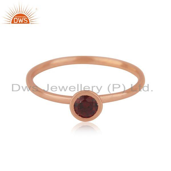 Rose Gold Plated Sterling Silver Garnet Gemstone Simple Ring Manufacturer INDIA