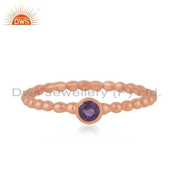 Rose Gold Plated Handmade 925 Silver Amethyst GEmstone Ring Manufacturer Jaipur