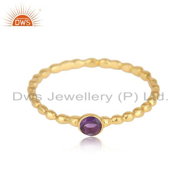 Natural amethyst gemstone designer gold plated silver rings