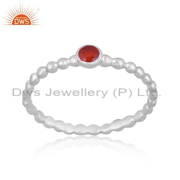 Round Carnelian Set Fine Sterling Silver Classic Design Ring