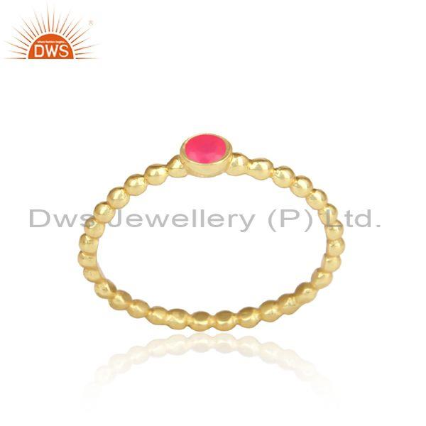 Pink Chalcedony Gold Plated Beaded 925 Silver Handmade Ring
