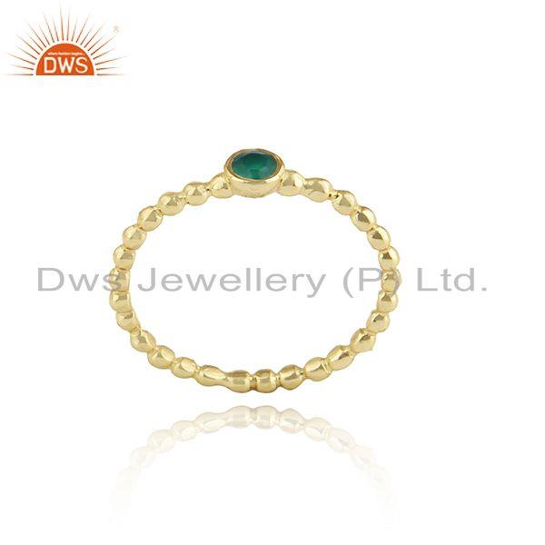 18k gold plated texture designer silver green onyx women rings
