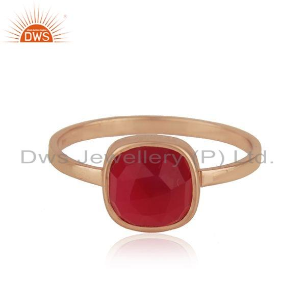 Rose Gold Plated 925 Silver Pink Chalcedony Gemstone Ring Jewelry