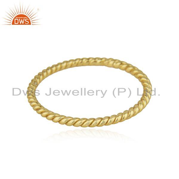 Handmade Twisted Design 18k Gold Plated 925 Silver Band Ring Jewelry