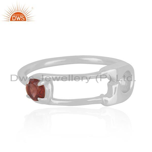 Garnet Birthstone Fine Silver Customized Pin Design Ring Manufacturer India