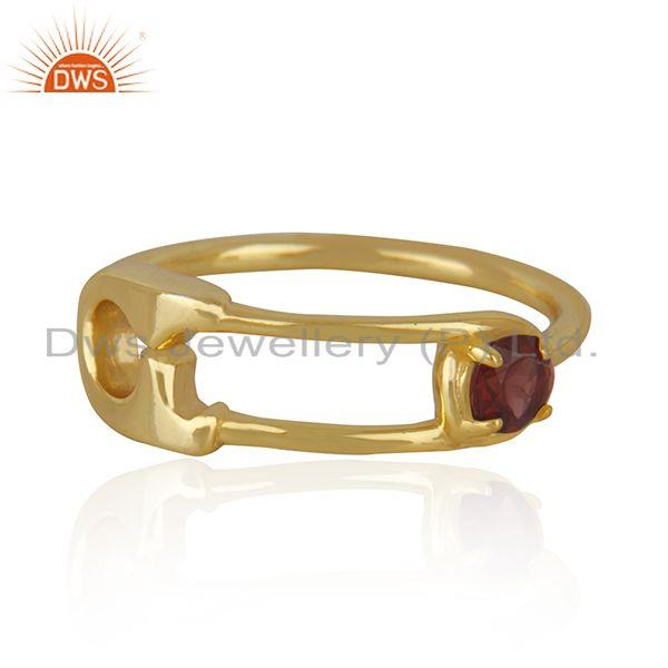 Customized Pin Design Gold Plated 925 Silver Garnet Gemstone Ring Wholesale