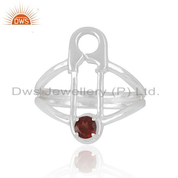Garnet Gemstone Sterling Fine Silver Safty Pin Shape Ring Jewelry