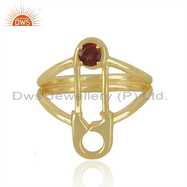 Safty Pin Shape Gold Plated Silver Garnet Gemstone Ring Jewelry