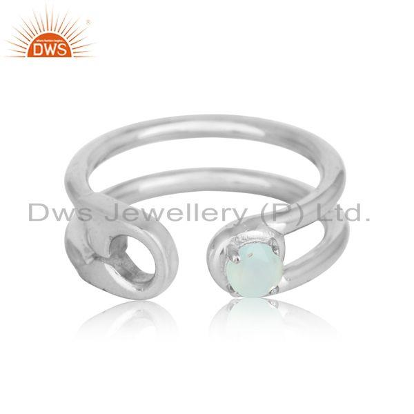 Safety pin sterling fine silver designer aqua chalcedony rings
