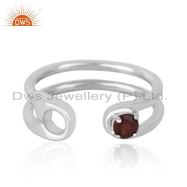 Garnet Gemstone Pin Design Sterling Silver Ring Manufacturer India
