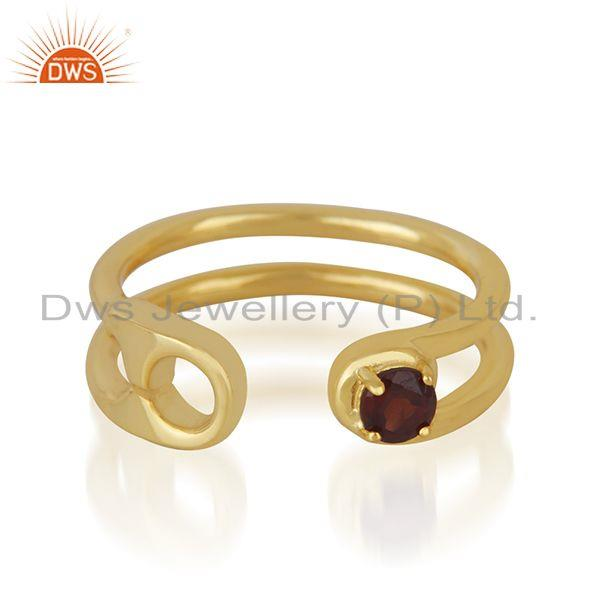 Garnet Gemstone Gold Plated 925 Silver Pin Design Ring Manufacturer India