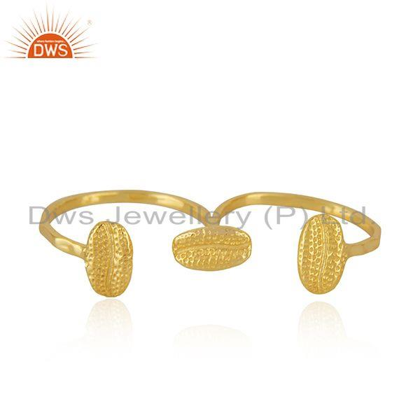 New Yellow Gold Plated Silver Double Finger Ring Jewelry Supplier