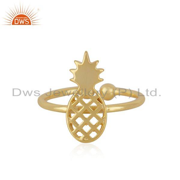 New Yellow Gold Plated Silver Pineapple Design Adjustable Ring Jewelry