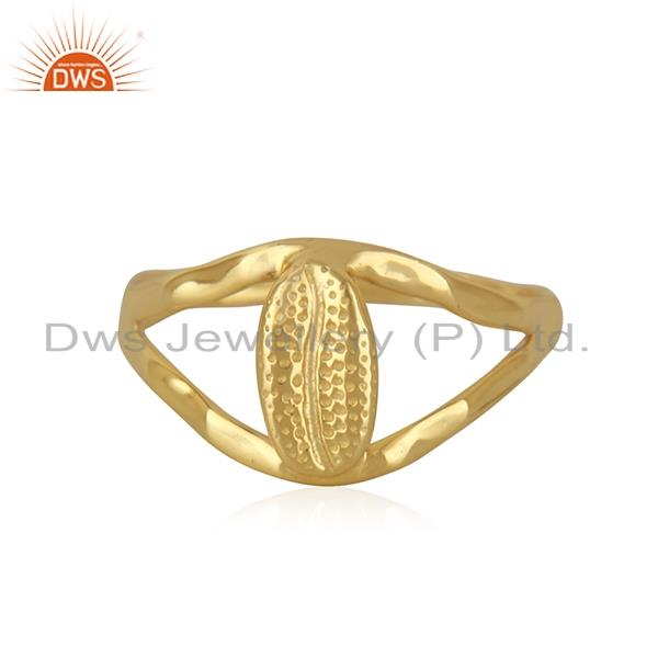 Handcrafted Gold Plated 925 Sterling Plain Silver Ring Manufacturer India