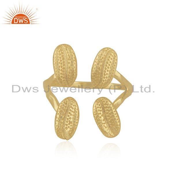 Gold Plated Handcrafted Brass Fashion Designer Ring Jewelry Manufacturer