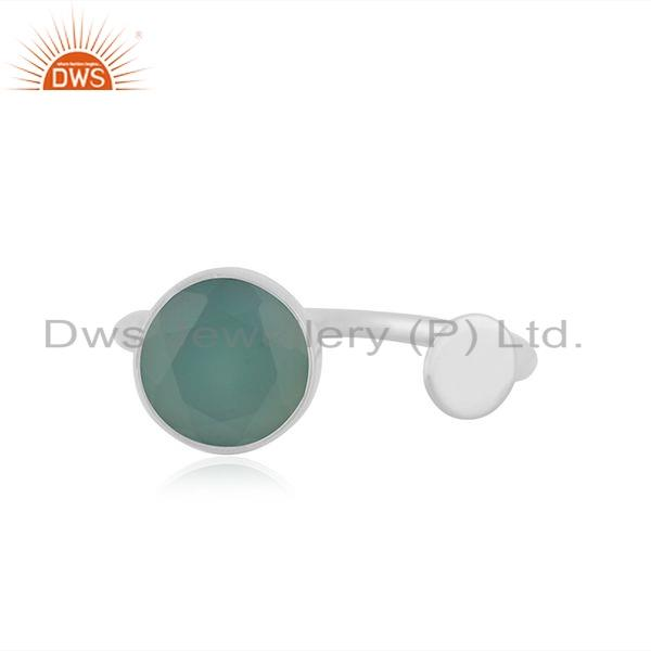 Handamde Design Fine Silver Natural Aqua Chalcedony Gemstone Rings